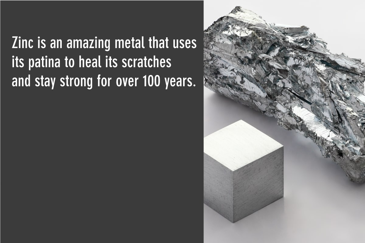 zinc uses its patina to protect roofs for years