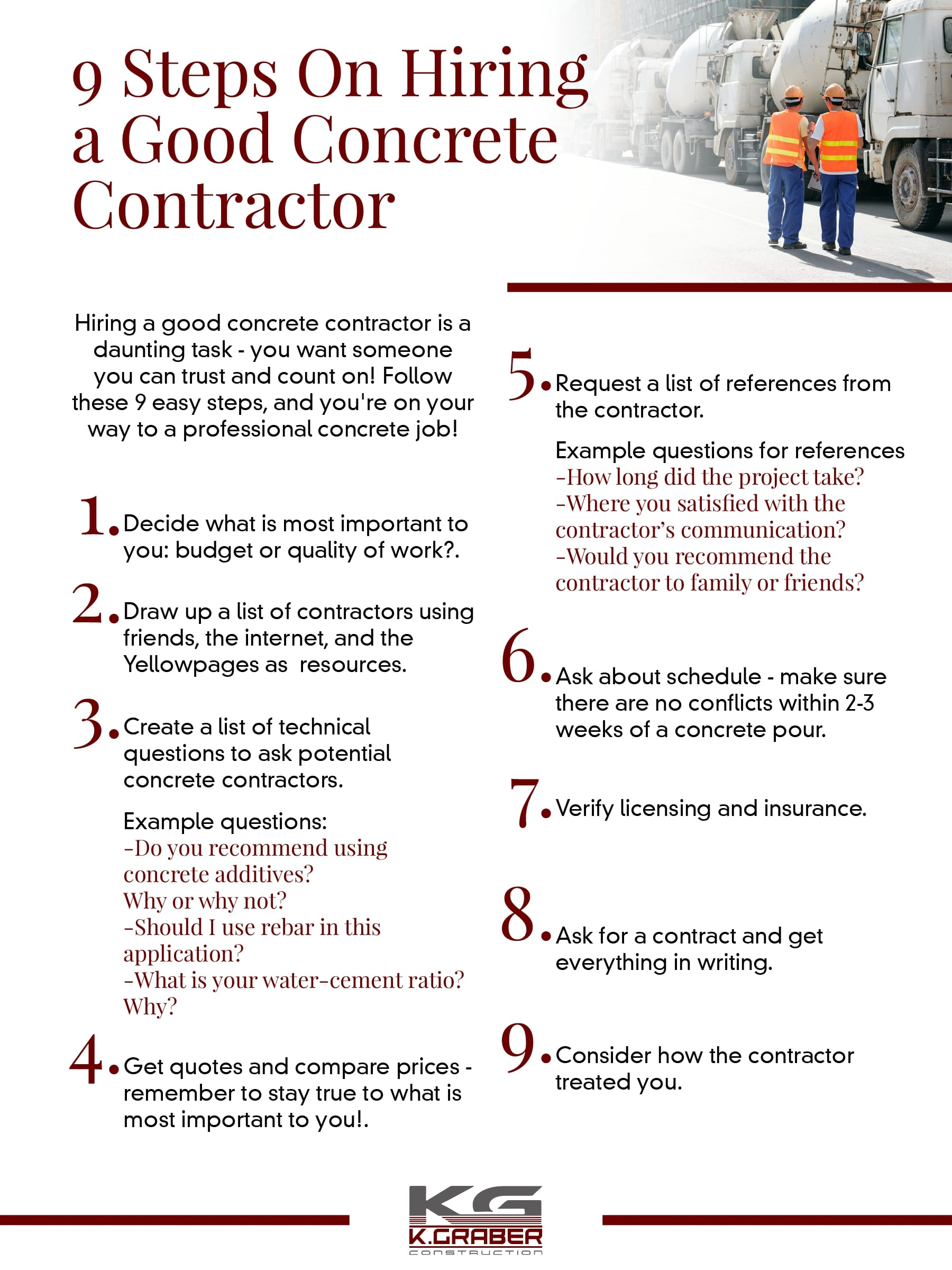 concrete contractor checklist