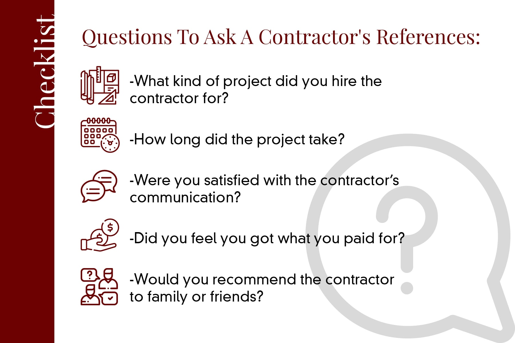 questions to ask a concrete contractors references