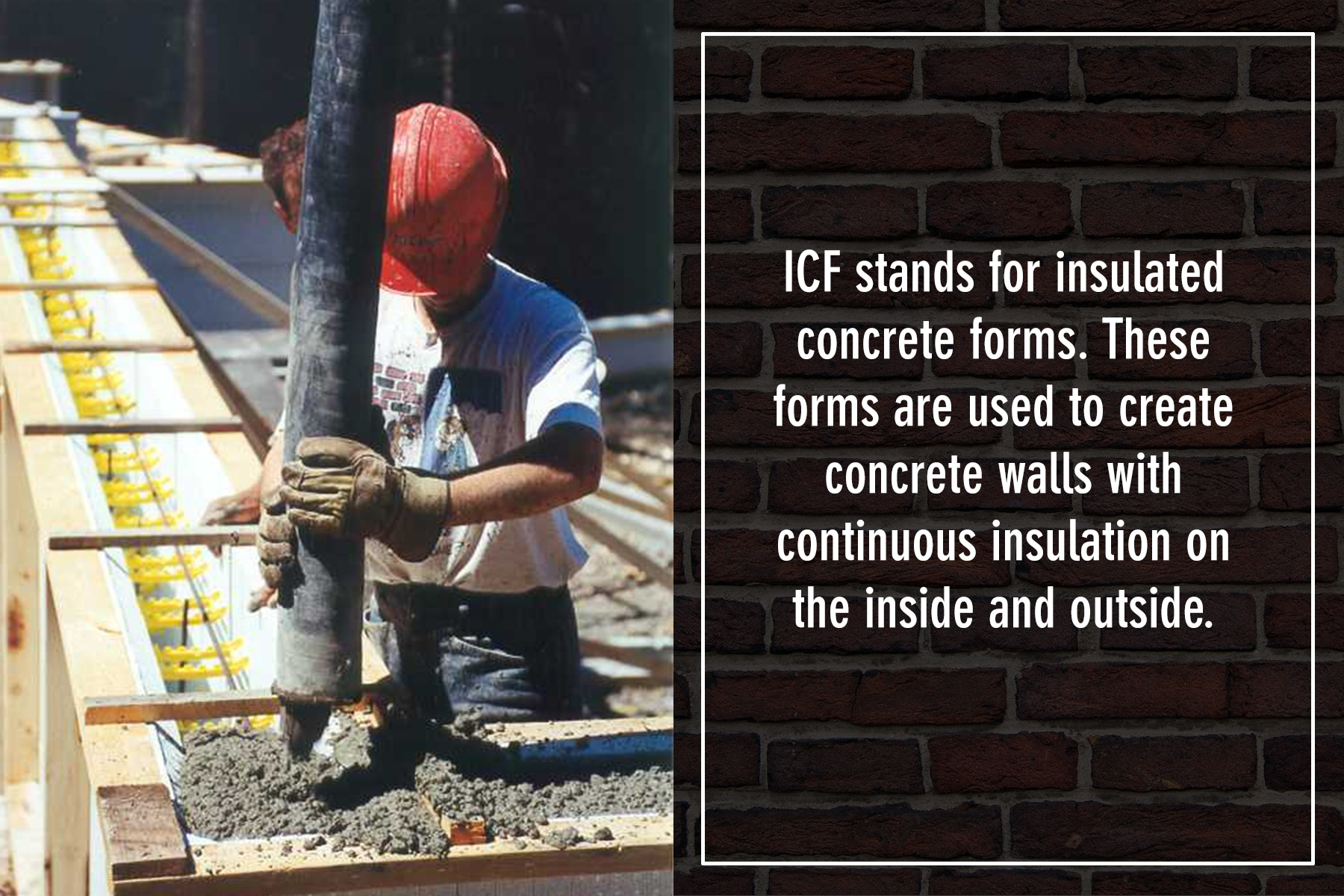 ICF stands for insulated concrete forms