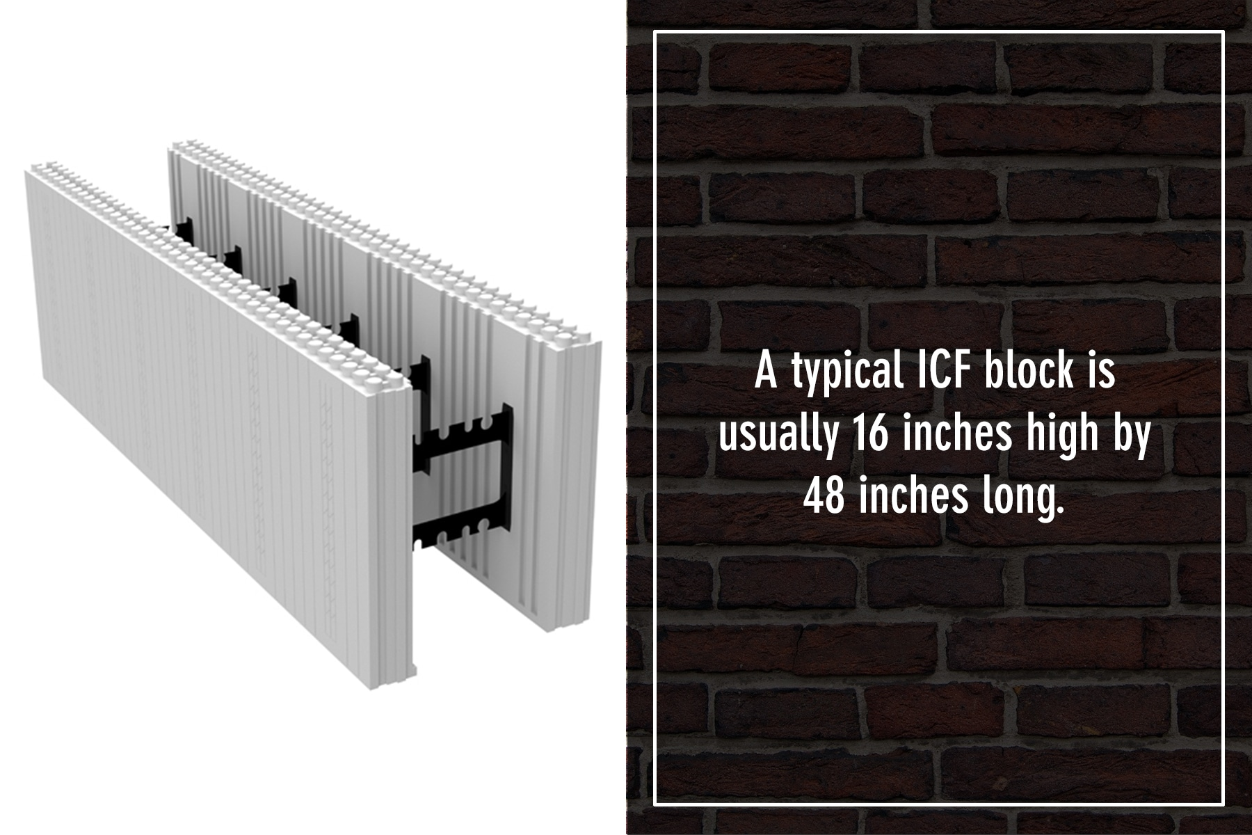the typical size of an ICF block